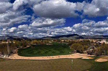 Low clouds over the #16 hole on The Boulder's North Course in Carefree, Arizona