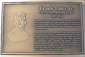 "Lieutenant Frank Luke Jr. Plaque ""Arizona Balloon Buster"""